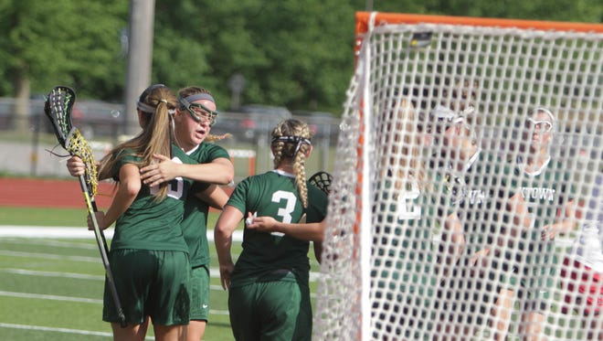 Action during a New York State girls lacrosse Class B regional final game between Yorktown and Niskayuna at Mohonasen High School in Rotterdam on Saturday, June 4th, 2016. Yorktown won 10-9 in overtime.