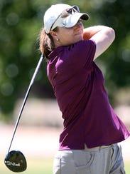 Jennifer Delgadillo keeps an eye on her tee shot Saturday