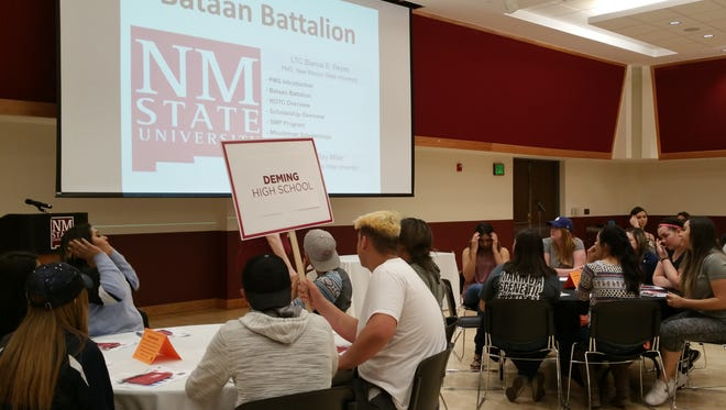 Twenty-eight juniors from Deming High School attended a tour of New Mexico State University in Las Cruces on Monday, March 6, 2017. The transportation and tour was provided by the Hispanic Association of Colleges and University (HACU) and the NMSU ROTC Department.  Students were informed of the many programs at NMSU and the benefits of the ROTC programs. The program also provided a question and answer panel for students that had questions regarding any of the programs. The students were accompanied by Academic Adviser Yvonne Jasso-Perales and Library Media Technician Alfonso Sanchez.