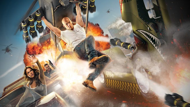 """The Universal theme parks have long invited visitors to """"ride the movies."""" By sending hapless passengers on a high-speed highway chase, Fast & Furious – Supercharged, the new, souped-up attraction at Universal Studios Florida, takes the you-are-there action to the extreme."""