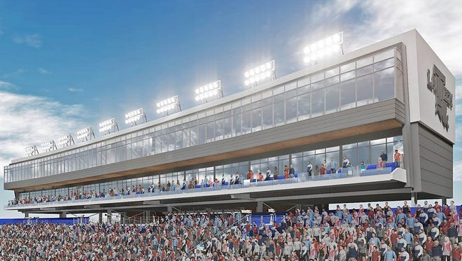 A rendering of the new press box and suites at Louisiana Tech that will debut in 2017.