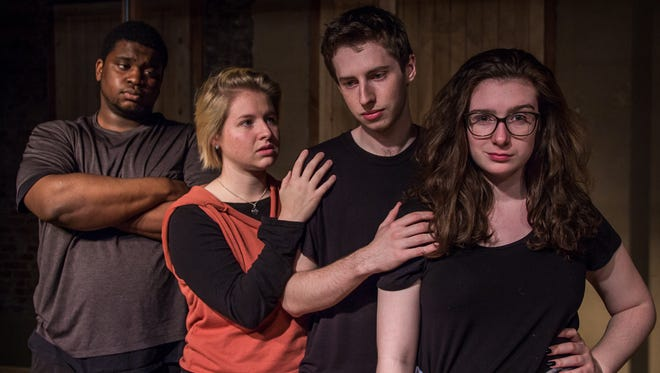 "Think, Dog! Productions presents the play ""The Shape of Things"" by Neil LaBute Nov. 3-4, 10-11, and 17, starring (from left) Daniel Robinson, Emily Kreuzman, Layke Fowler and Wilhelmena Dreyer."