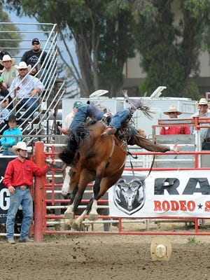 Tyler Scales from Severance, Colorado rides bareback on Sunday, the Day of Champions and Man Up Crusade Day at the 2015 California Rodeo Salinas.