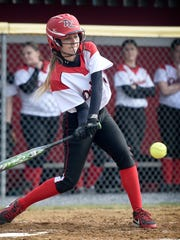 Cayla Gassert connects with a pitch for one of her two hits in Annville-Cleona's 5-4 win over Pequea Valley on Monday.