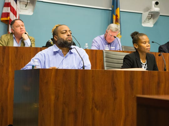 The Wilmington City Council Finance and Economic Development Committee listen to Theo Gregory explain the intended use of a $35,000 grant requested by Student Disabilities Advocate Inc. Monday night.