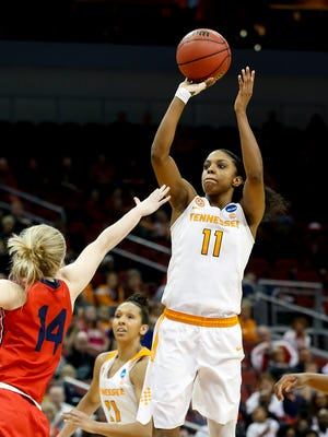 Tennessee's Diamond DeShields pulls up and knocks down a shot over Dayton's Jenna Burdette. DeShields lead all scorers with 24 points.  March 18, 2017