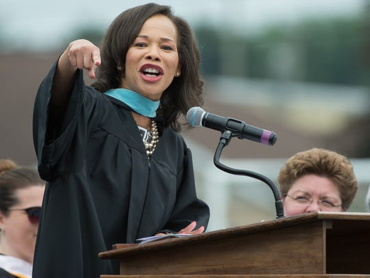 U.S. Rep. Lisa Blunt Rochester, D-Del., gives the commencement address at Caesar Rodney High School.