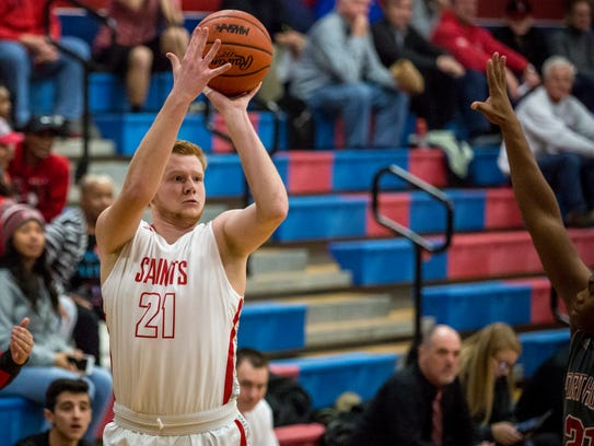 St. Clair senior Devin Dombrow takes a shot during