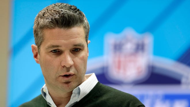 Houston Texans general manager Brian Gaine speaks during a press conference at the NFL Combine in Indianapolis, Wednesday, Feb. 28, 2018.