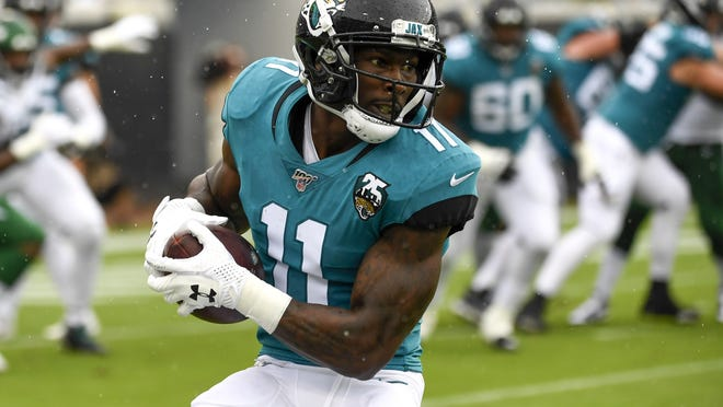 Patriots wide receiver Marqise Lee, shown playing for the Jacksonville Jaguars last season, became the seventh New England player to opt-out of the 2020 NFL season due to COVID-19.