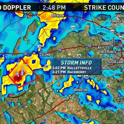 A tornado warning has been issued for Fayette and Lavaca