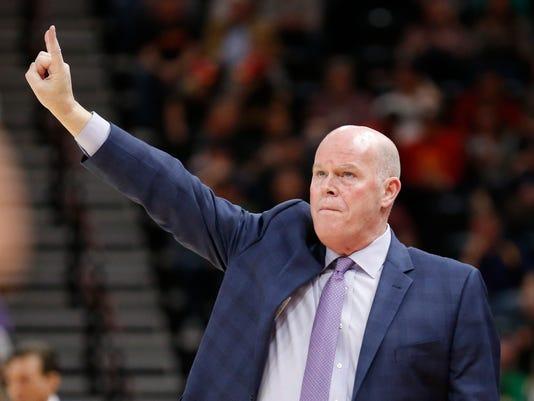 Charlotte Hornets head coach Steve Clifford signals a call in the first half during an NBA basketball game against the Utah Jazz, Friday, Feb. 9, 2018, in Salt Lake City. (AP Photo/Rick Bowmer)