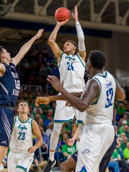 FGCU junior starting forward Michael Gilmore put up