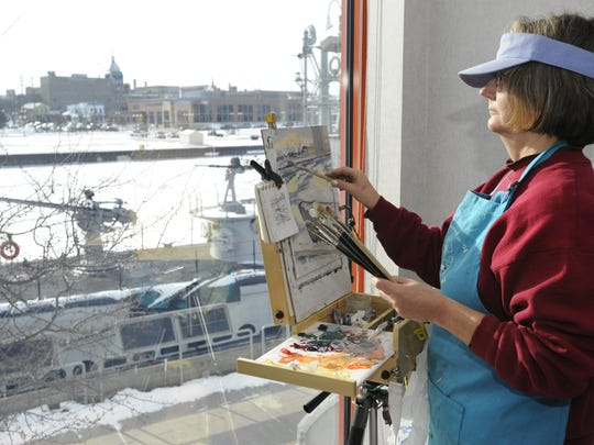 Waters Edge Artists meets monthly to creatively capture both famous and out-of-the-way environmental or historically significant treasures. Pictured: Waters Edge artist at Manitowoc's Wisconsin Maritime Museum in 2011.