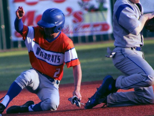 Louisiana College senior Zane Corbell (2) reaches base safely during a game against Dakota State this season. LC will host Centenary Monday on Cox Sports Television.