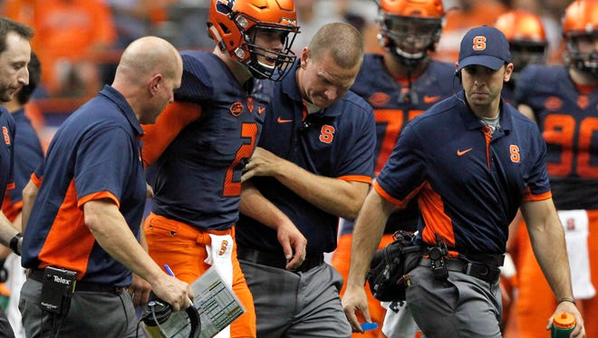 Syracuse's freshman QB Eric Dungey has been knocked woozy multiple times this season and is day to day for Sunday's showdown against No. Clemson.