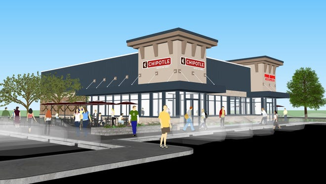 A rendering depicts the completed Chipotle Mexican Grill and Five Guys Burgers and Fries at 18 Westage Drive in the Town of Fishkill.