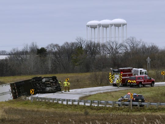 An I-43 on-ramp in Sheboygan was closed Friday afternoon after a semi-truck overturned navigating the ramp from Highway 23 to I-43 northbound.