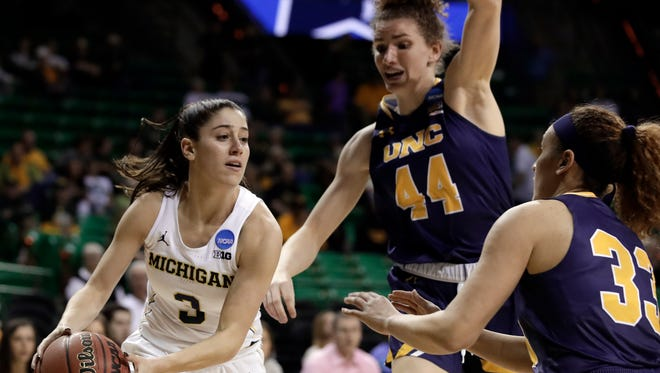 Michigan's Katelynn Flaherty looks to pass against Northern Colorado on Friday in Waco, Texas in the first round of the NCAA women's tournament.