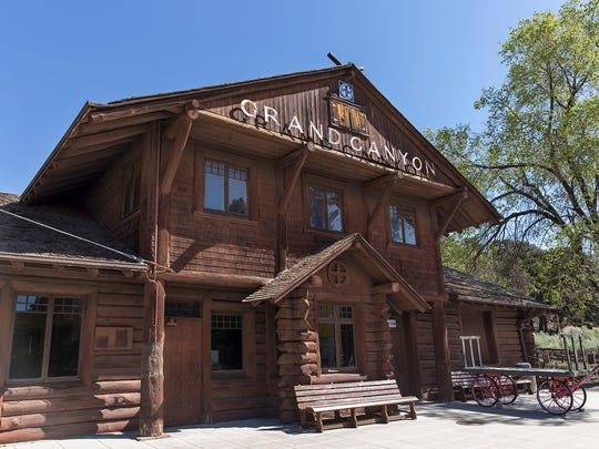 The Grand Canyon Railway train arrives at this historic depot at the South Rim. The two-story log and wood-frame depot was built in 1910.