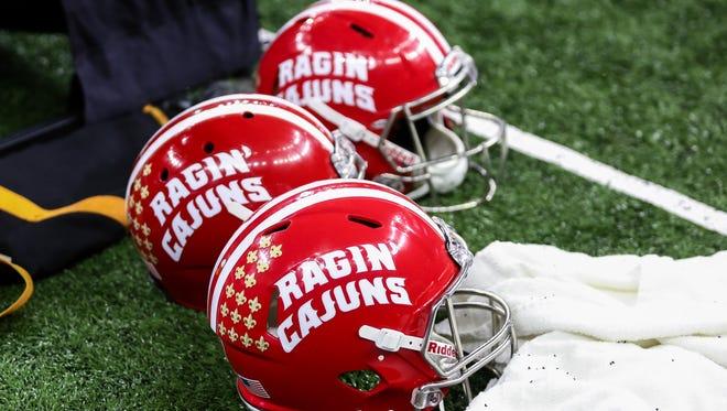 UL Lafayette Ragin' Cajuns helmets.