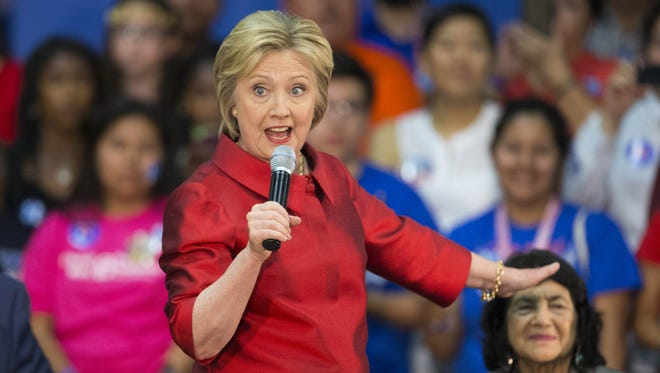 Democratic presidential candidate Hillary Clinton, seen speaking at a Phoenix high school in March 2016, will begin airing campaign ads in Arizona as soon as Sept. 2, 2016.