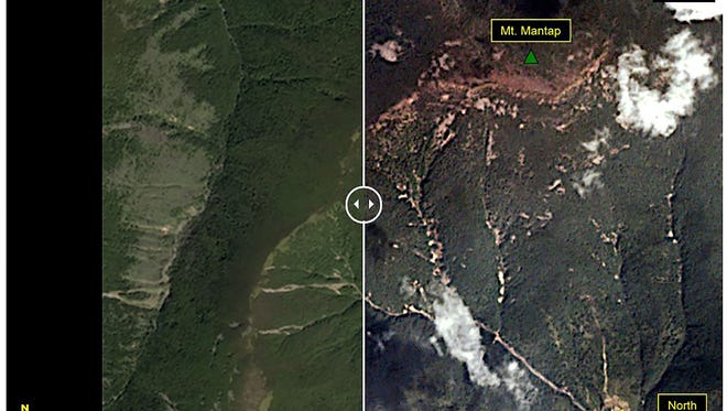 This before-and-after images courtesy of Planet, show the Punggye-ri test site where on Sept. 3, 2017, North Korea claimed to have conducted the undeground explosion of a hydrogen bomb. The image on the left is pre-test image acquired on Sept. 1, 2017, while the post-test image, showing landslided, was acquired on Sept. 4.