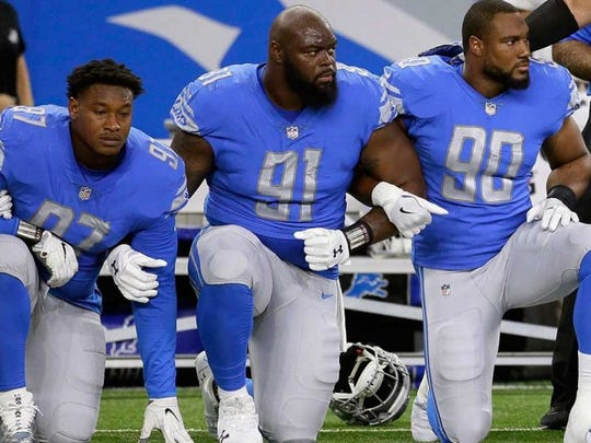 Former Alabama star defensive tackle A'Shawn Robinson (91) took a knee during the playing of the national anthem in support of Colin Kaepernick's protests against police brutality and social injustice on African-Americans and people of color.