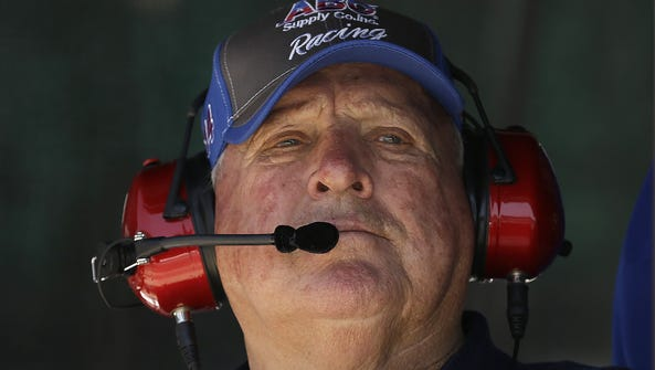 Team owner A.J. Foyt watches his drivers during practice