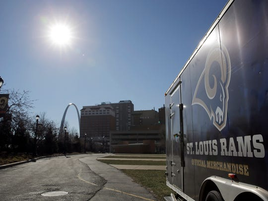 A merchandise trailer sits outside the Edward Jones Dome, former home of the St. Louis Rams.