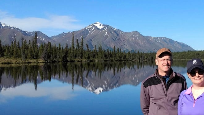 Shawn and Denise Ward from Macomb Township took the D to Reflection Lake near Denali National Park in Alaska. The mountains in the background are part of the Alaska range. They were on a Jeep excursion and this was one of the stops in June 2017. Denise surprised her husband with the trip to Alaska on the occasion of his 50th birthday in July.