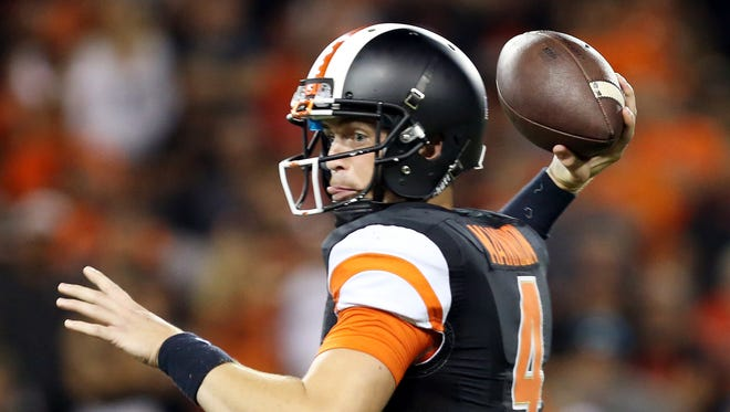 Sean Mannion sets the team's career passing record as the Oregon State Beavers defeat San Diego State University 28-7 in a college football game at Reser Stadium in Corvallis.