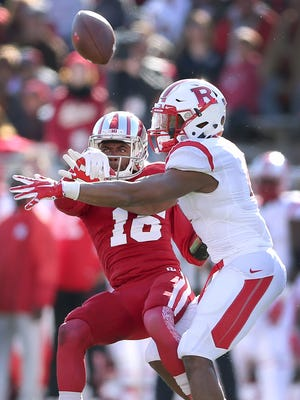 Indiana's Rashard Fant (16) knocked the ball away from Rutgers' Leonte Carroo in their game Oct. 17.
