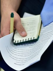 A student keeps notes during the CASHS Youth Court on Wednesday, March 29, 2017. In a new program, students held trials for other students who were charged with school-related offenses.