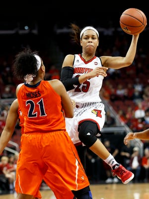 Louisville's Asia Durr passes the ball past UVA's Lauren Moss.Feb. 23, 2017