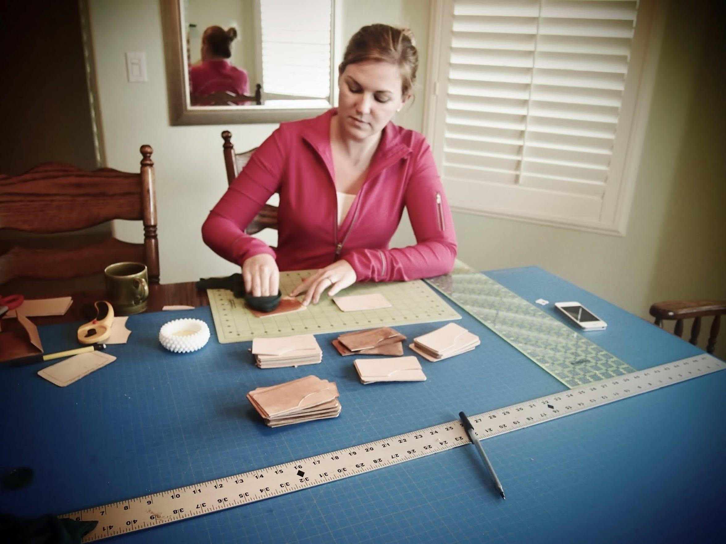 Amber Kanallakan of Visalia works on homemade leather
