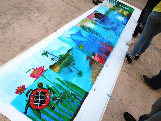 Panoramic Florida ecosystem landscape mural chalk drawing