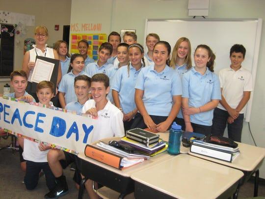 Mater Christi eighth grade class with Julia Melloni,