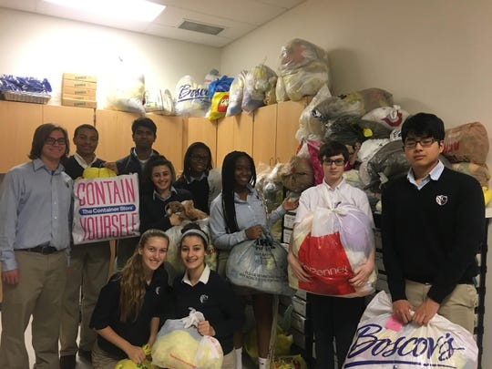 Newark Charter students who helped weave plastic bags into sleeping mats for the homeless include, from left, Max Roberts, Kevin White, Anuj Shah, Sophia Crisomia, Emily Dorrell, Nawel Hamroun, Keira Morgan, Mimi Diani, Daniel Chajes and Jessie Morgado.