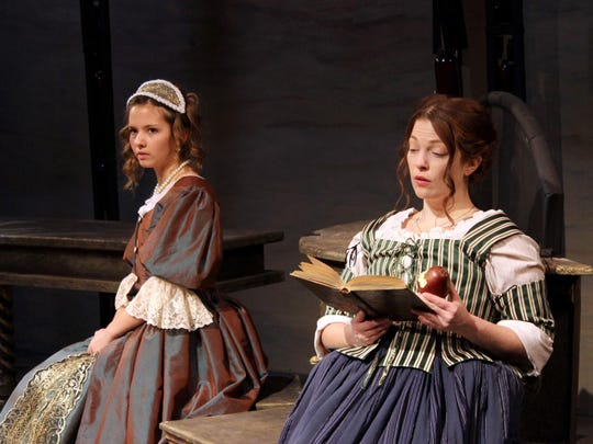 "Maeyson Menzel as Daniella Presti and Dani Cochrane as Girolama Spera in the World Premiere of ""Our Lady of Poison"" by Joseph Zettelmaier.at the Williamston Theatre."