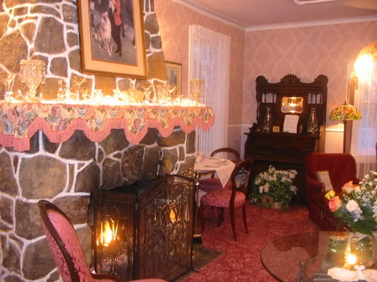 The parlor with fireplace at the White Lilac Inn in Spring Lake where you still might be able to snare a room for Valentine's Day weekend.