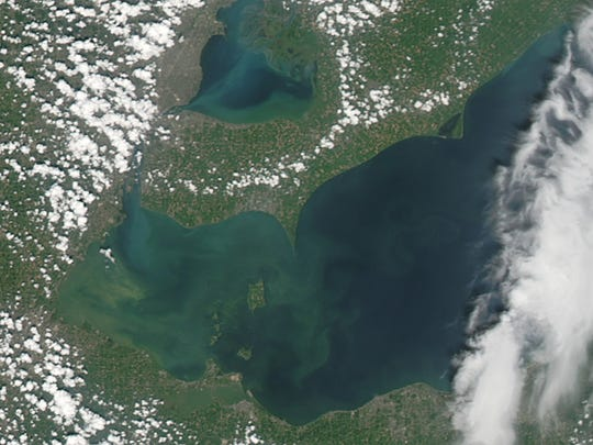 An algae bloom floats in Lake Erie off Michigan, Ohio and southwestern Ontario in 2013.