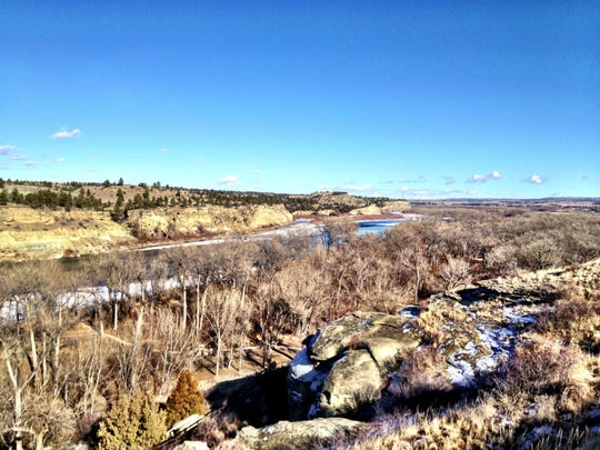The view of the Yellowstone River from Pompeys Pillar takes in the Yellowstone River.