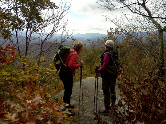 A hike in September with Lynn Cameron, left, and Stefanie
