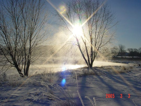 Sunshine sparkles through iced-over trees along the Milwaukee River.