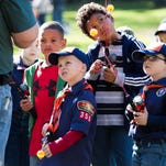 """New scouts listen to lectures on fishing at the Southern Shores Field Service Council's """"Hooked on Scouting"""" recruitment initiative at Wilder Creek Conservation Club in Marshall on Saturday morning."""