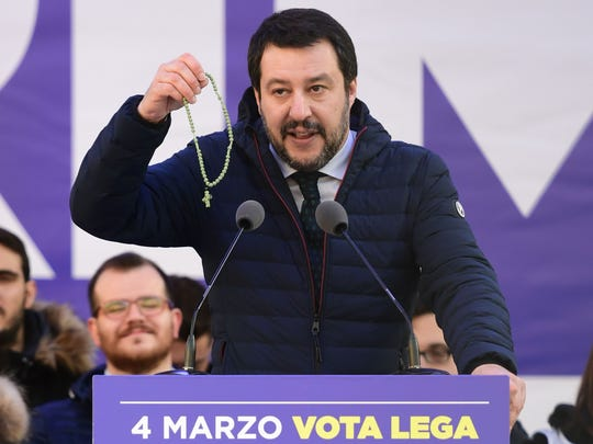 Lega Nord far right party leader Matteo Salvini holds