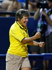 Michigan coach Carol Hutchins reacts after her team