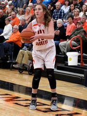 Greenfield's Tess Darby spots up for a 3-pointer against Dresden on Jan. 5.