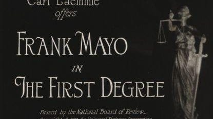 "Opening titles for a recently rediscovered courtroom drama ""The First Degree."" Considered a lost film for decades, a five-reel nitrate print turned up in a collection in Peoria, Ill., and only recently was identified by Chicago Film Archives."